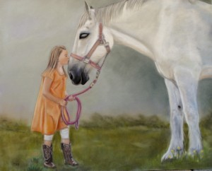 """""""First Kiss"""" 16"""" x 20"""" pastel on velour"""