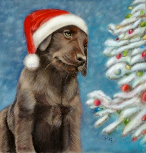 """Kona Bella Christmas"", 8"" x 8"" pastel on velour"