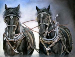 """Hitched"", 14"" x 18"" pastel, $950"