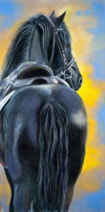 """""""Ready To Ride"""", 20"""" x 10"""" pastel"""