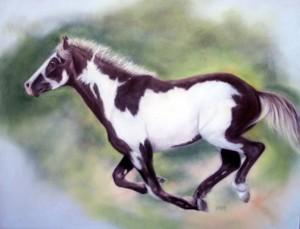 """""""Run Free"""", Mustang Series, 14"""" x 18"""" pastel, $495"""