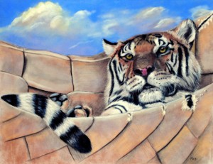 """Tiger In A Hammock"", 14"" x 18"" pastel, $1200"